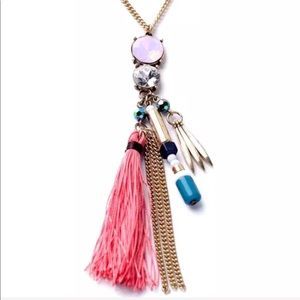 Jewelry - Long Tassel Fringe Necklace Salmon Crystal Pink